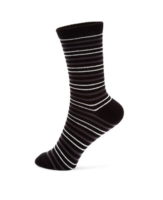 Stripe cotton socks. Available in grey and white or various shades on purple.