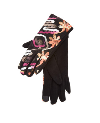 Embroidered floral texting gloves in various colours on a brown ground.