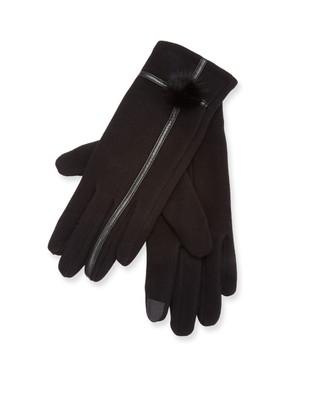 Black pom Pom texting gloves with pleather trim