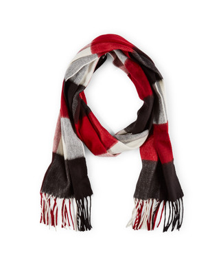 Woman's red and black buffalo check scarf