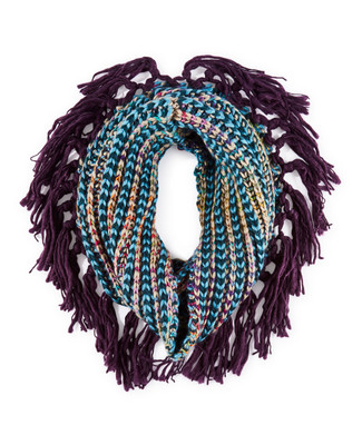Woman's knitted infinity scarf with fringe