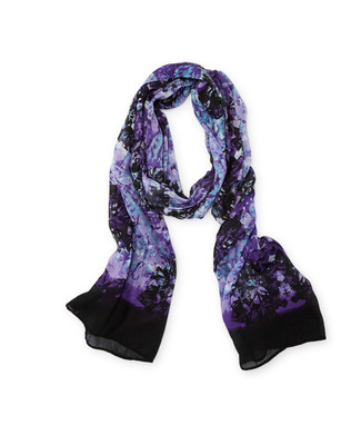 Woman's purple and black long scarf