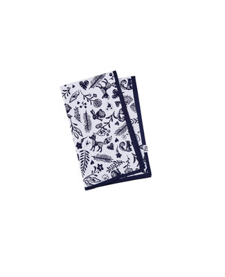 White tea towel with navy printed woodland creatures