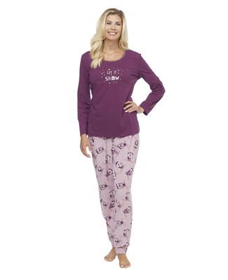 Woman's purple long sleeve top and micro cuff bottom pyjama set