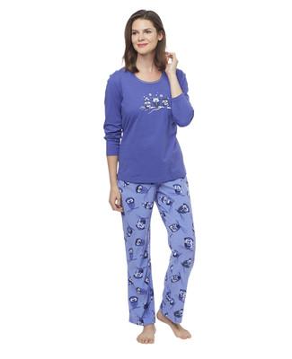 Woman's blue micro bottom pyjama set with printed owl pattern