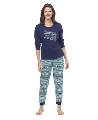 Woman's navy printed reindeer two piece pyjama set