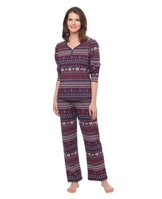 Woman's red and navy blue jacquard reindeer pyjama set