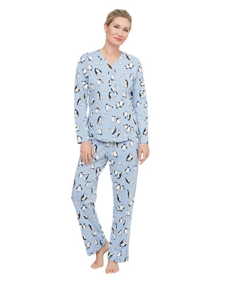 Woman's light blue penguin pattern two piece jersey pyjama set