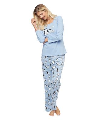 Woman's light blue printed penguin two piece pyjama set