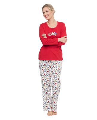 Woman's red cardinal screenprint top and flannel bottom pyjama set