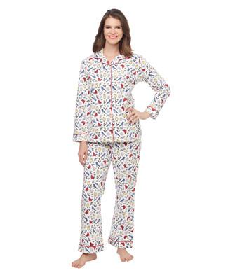 Woman's cardinal bird printed two piece flannel pyjama set
