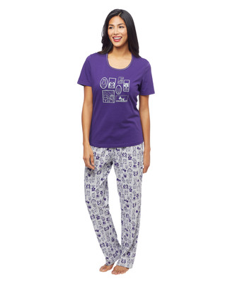 Women's two piece cotton pyjama sleepwear set featuring cute cats and dogs