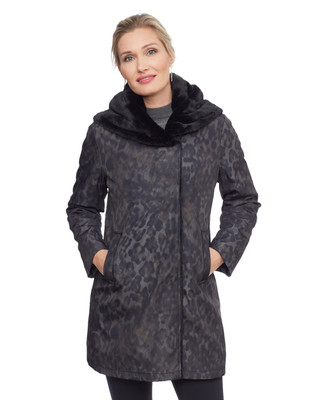 Woman's dark grey animal print jacket with faux fur lined hood
