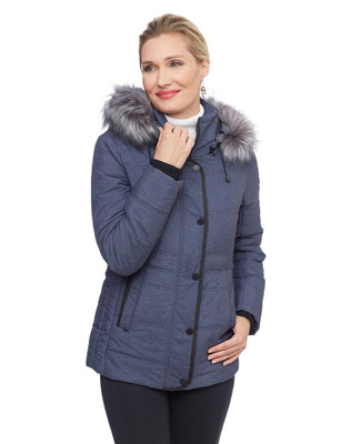Woman's blue melange quilt jacket with silver faux fur hood