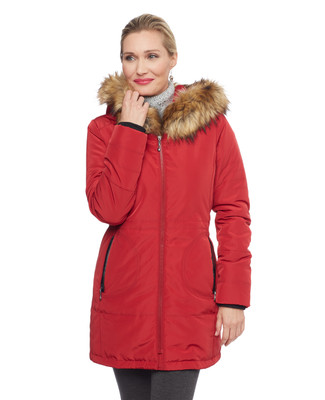 Woman's red quilted jacket with faux fur hood