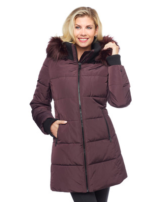 Woman's long purple faux down jacket