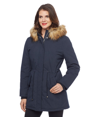 Woman's navy blue parka coat with faux fur hood