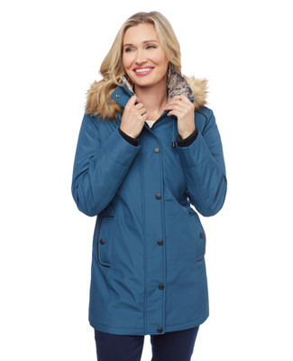 Woman's dark teal blue jacket with faux fur hood