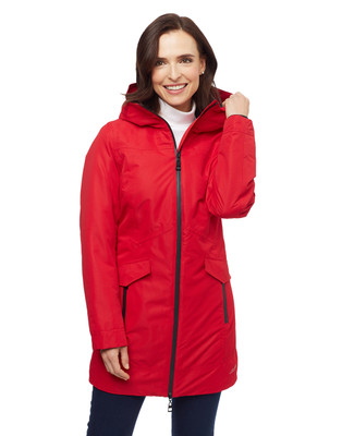 Woman's soft shell red waterproof jacket