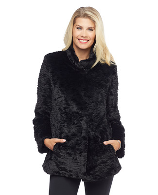 Woman's black faux fur Astrakhan coat