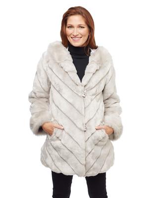 Woman's faux fur silver chevron pattern coat