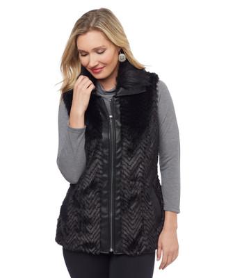 Woman's black zip faux fur vest