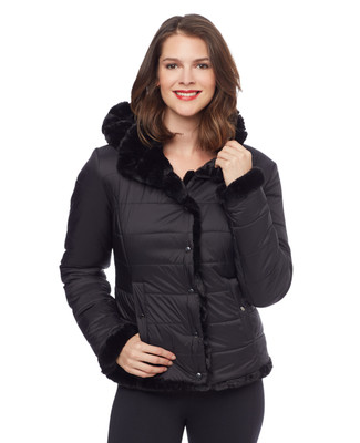 Woman's black reversible quilted jacket