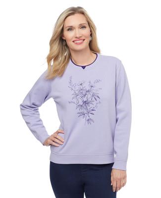 Petite Flower Notch Sweatshirt