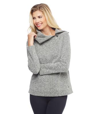 Woman's grey herringbone sweatshirt with cowl neck zipper detail