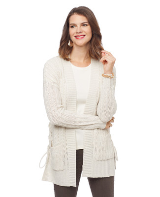 Woman's white pointelle edge to edge lace up side cardigan