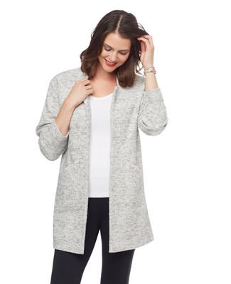 Woman's white long sleeve sweater coat