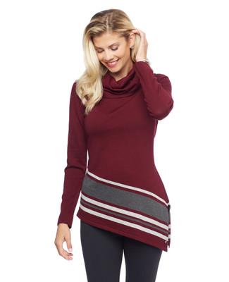 Woman's black cowl neck stripe hem tunic sweater