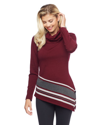 Woman's cowl neck stripe hem tunic sweater