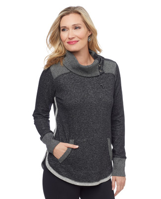 Woman's dark grey cowl neck lace up sweater