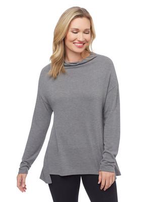 Woman's grey drop shoulder high low top