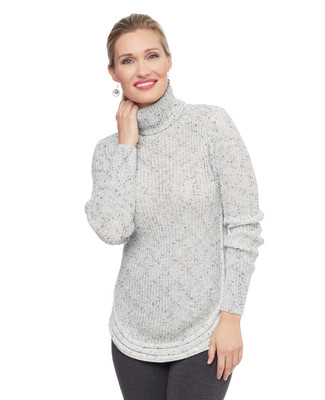 Woman's white round hem turtleneck sweater