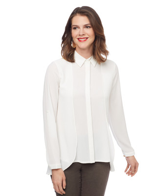 Woman's white long sleeve flowy blouse