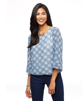 Woman's blue bell sleeve blouse