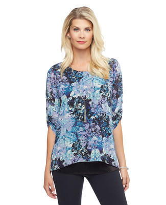 Woman's patterned purple three quarter sleeve top with sequin hem