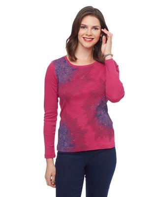 Women's magenta long sleeve tee with purple printed snowflake