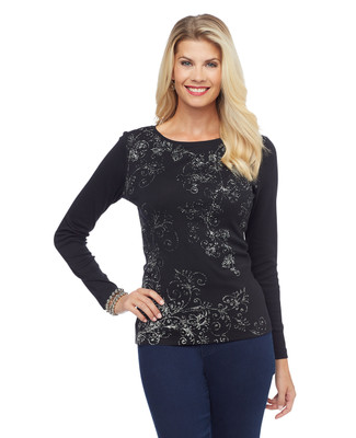 Black long sleeve boatneck tee with printed scrolls