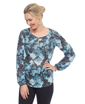 Woman's teal blue peasant pullover top