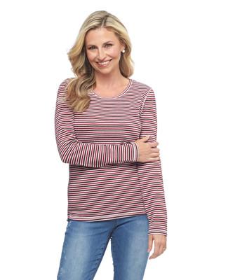 Woman's red striped waffle long sleeve tee
