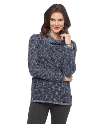 Woman's knitted cowl neck sweater
