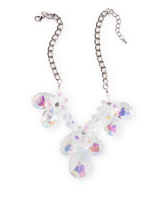 Iridescent necklace with three large flowers