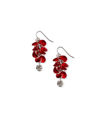 Red with silver dangling ball earrings
