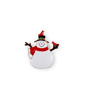 White snowman with cardinals brooch