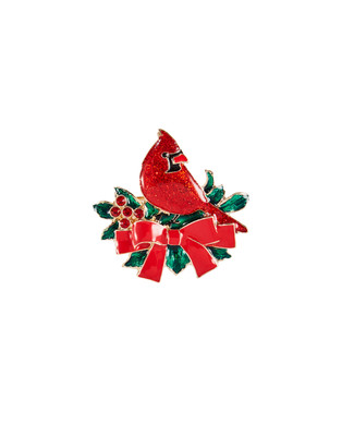 Red cardinal on red and green foliage brooch