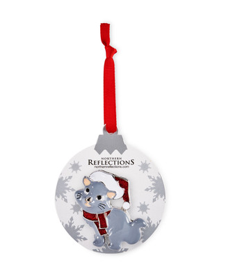 Grey cat in red scarf and Santa's hat brooch