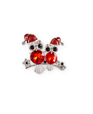 Owl brooch with red jewels